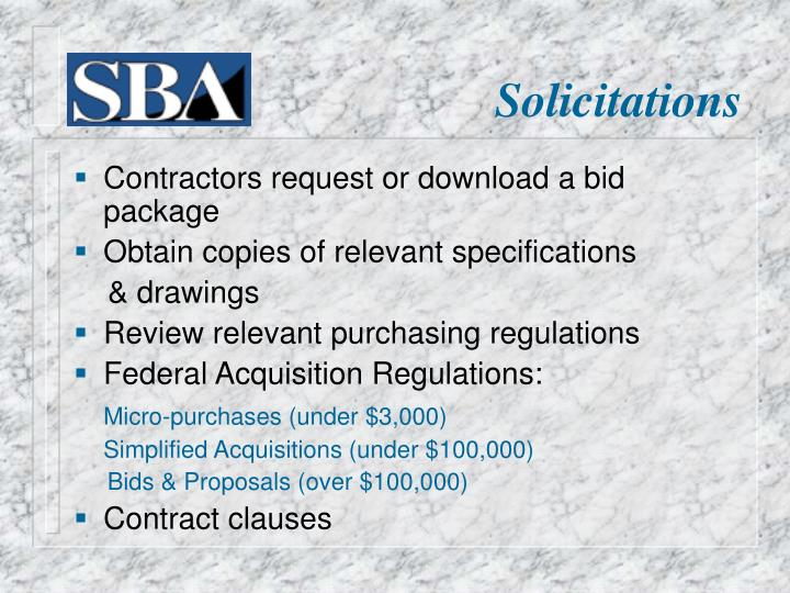 Contractors request or download a bid package