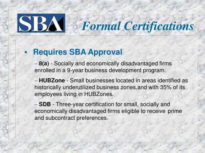 Formal Certifications