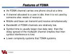 features of fdma