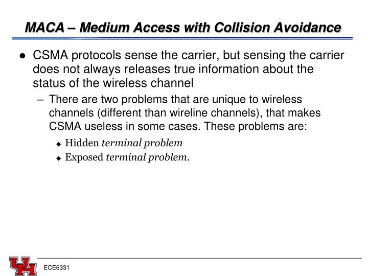 MACA – Medium Access with Collision Avoidance