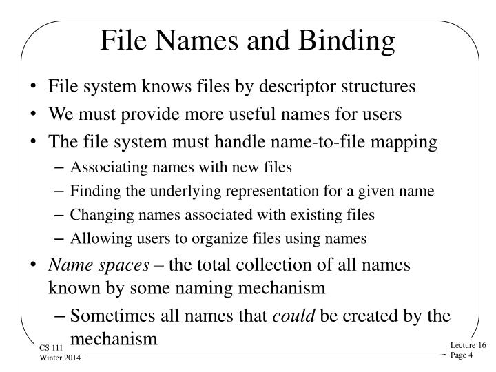 File Names and Binding