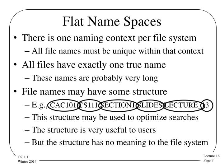 Flat Name Spaces
