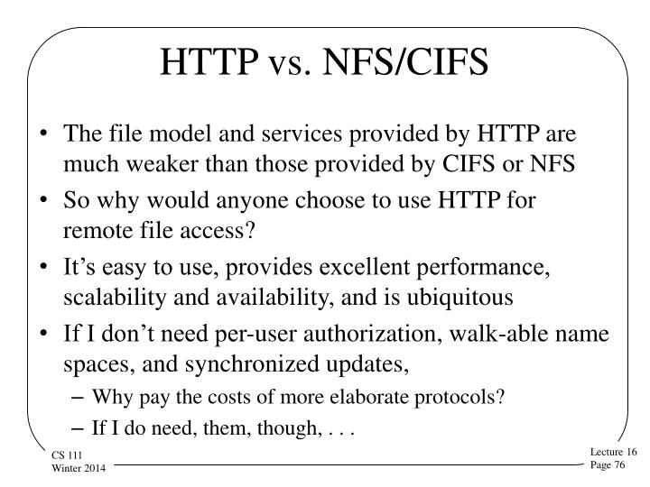 HTTP vs. NFS/CIFS