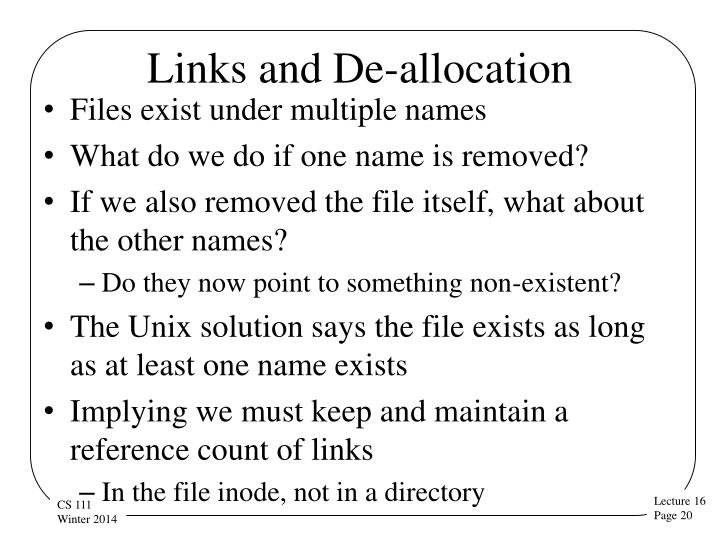 Links and De-allocation