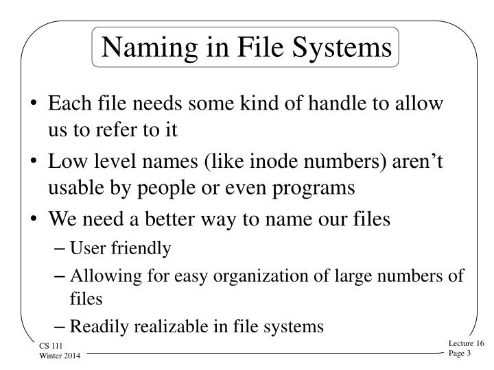 Naming in file systems