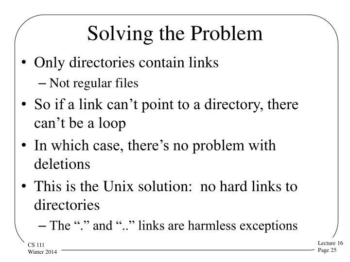 Solving the Problem