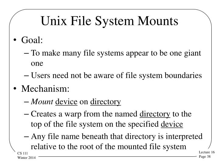 Unix File System Mounts