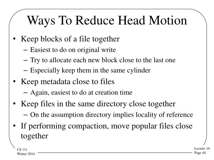 Ways To Reduce Head Motion