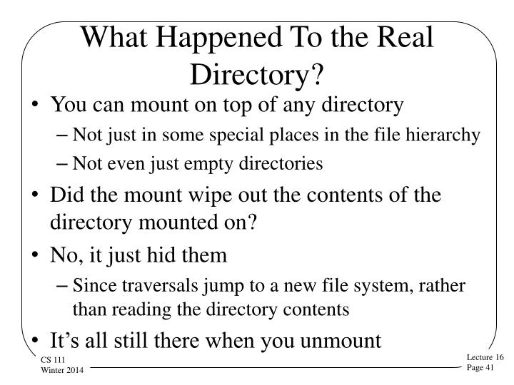 What Happened To the Real Directory?