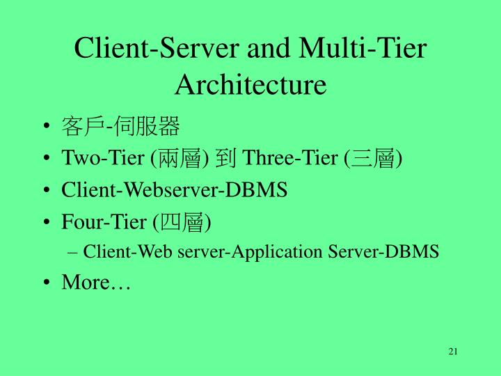 Client-Server and Multi-Tier Architecture