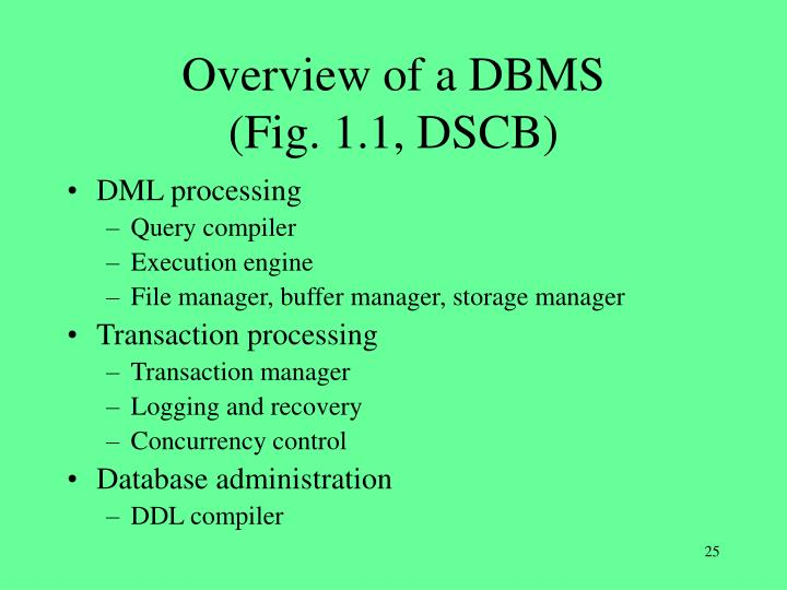 Overview of a DBMS