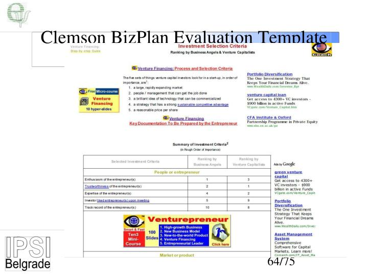 Clemson BizPlan Evaluation Template