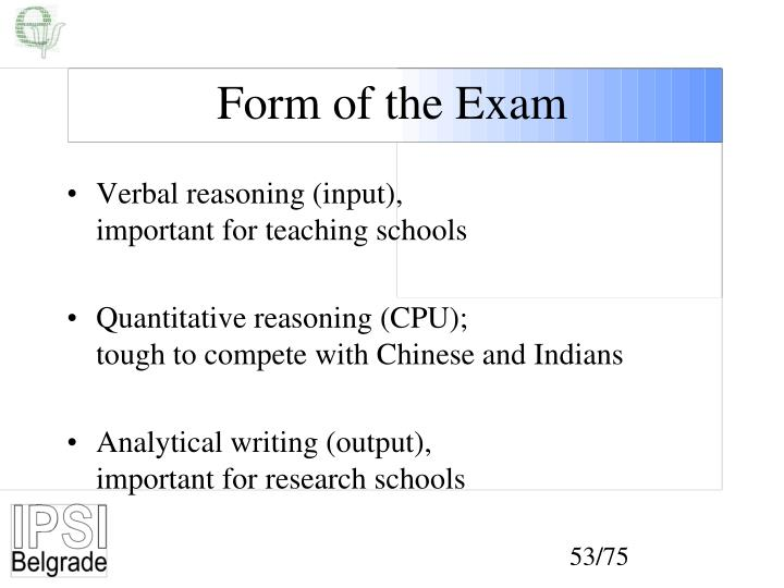 Form of the Exam
