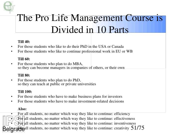 The Pro Life Management Course is Divided in 10 Parts