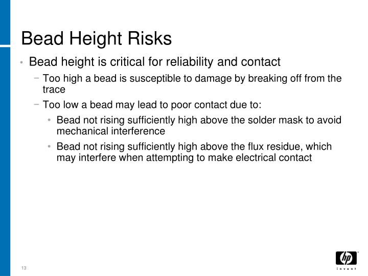 Bead Height Risks