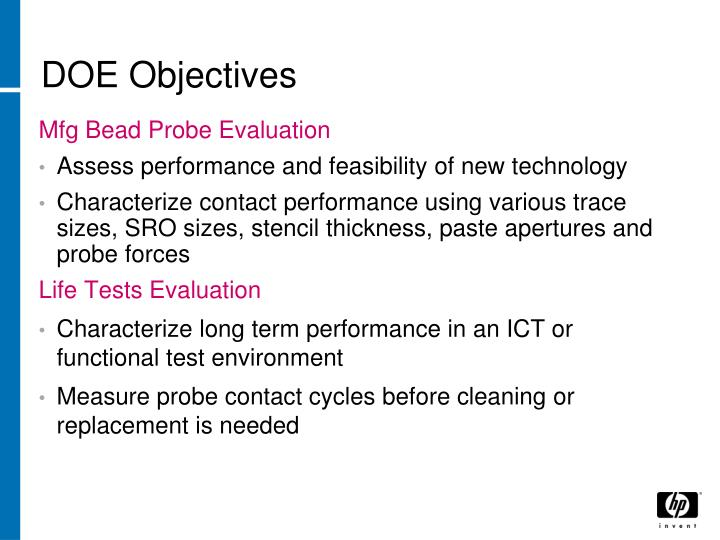 DOE Objectives