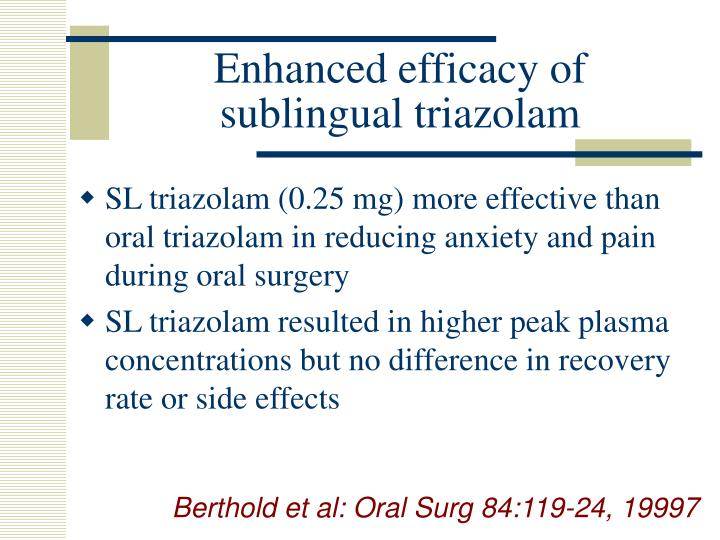 Enhanced efficacy of sublingual triazolam