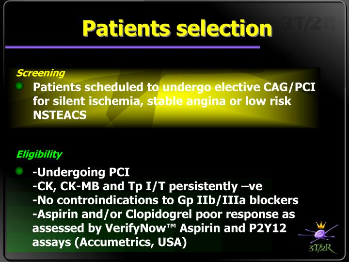Patients selection