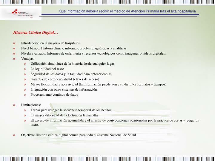 Historia Clínica Digital…