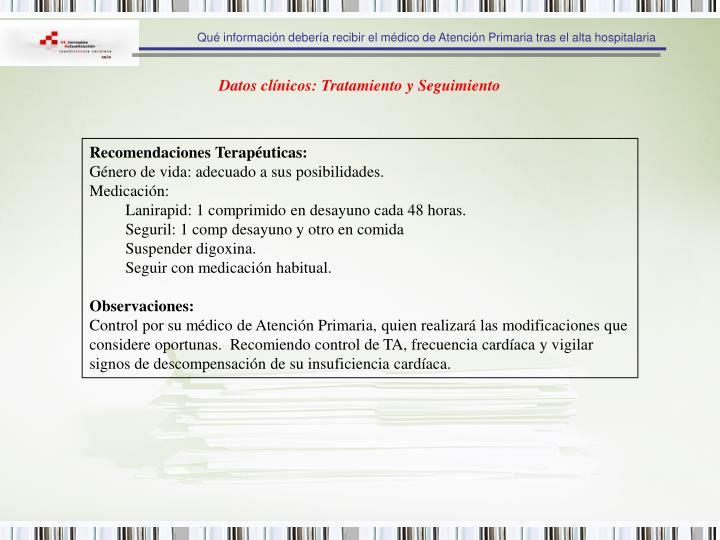 Qué información debería recibir el médico de Atención Primaria tras el alta hospitalaria