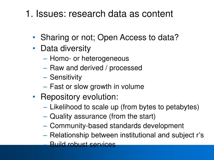 1. Issues: research data as content