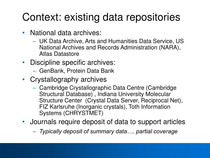 Context: existing data repositories