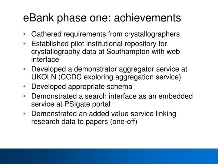 eBank phase one: achievements