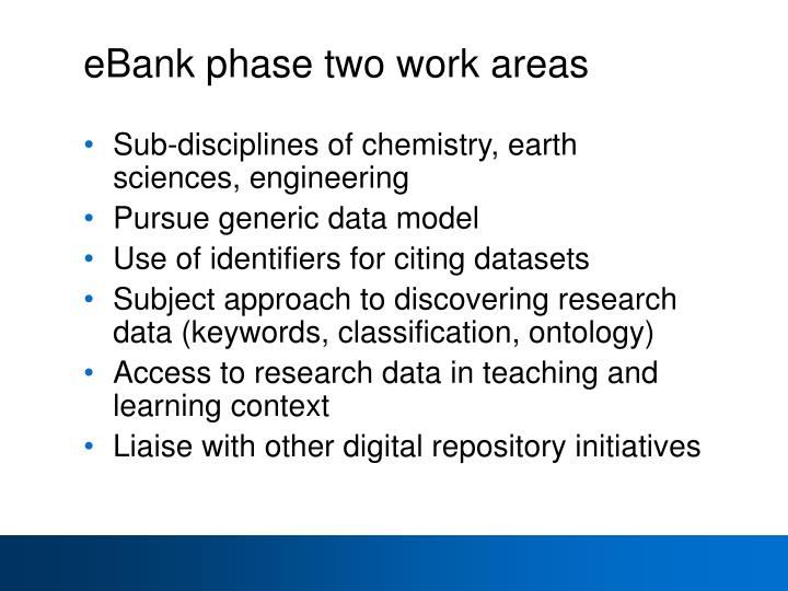 eBank phase two work areas