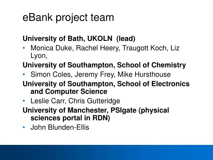 eBank project team