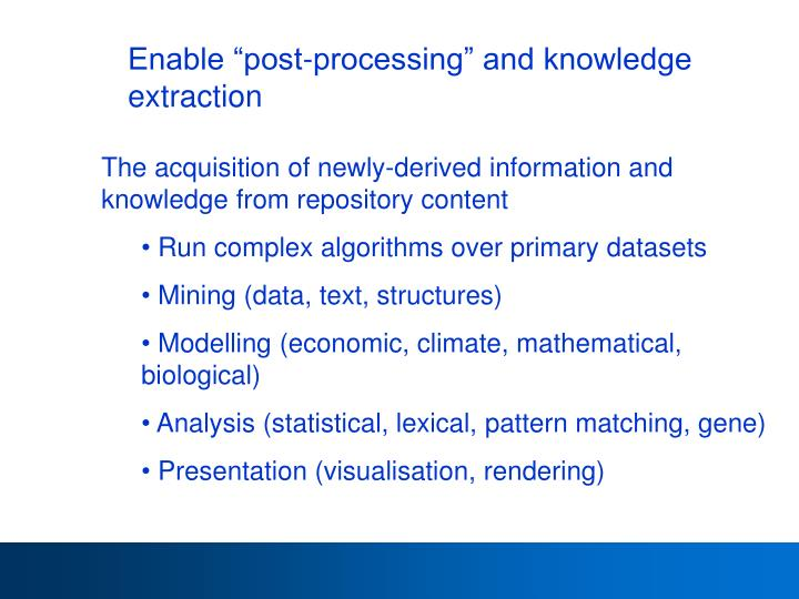 "Enable ""post-processing"" and knowledge extraction"