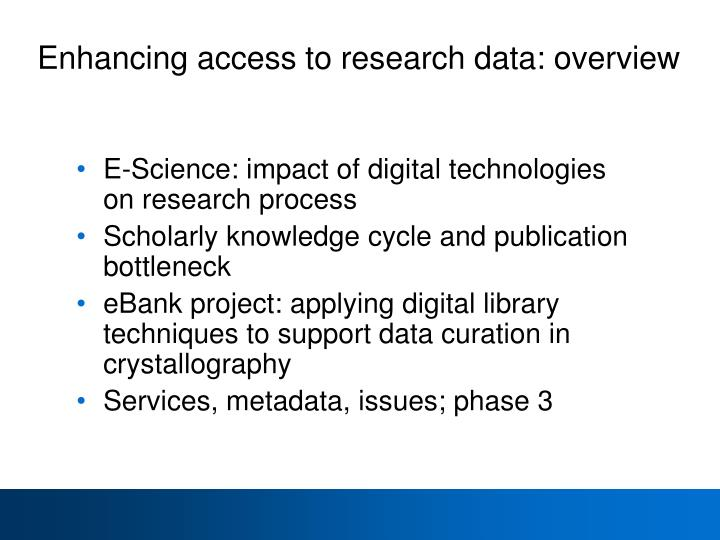 Enhancing access to research data: overview