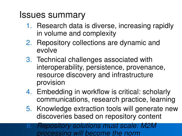 Issues summary