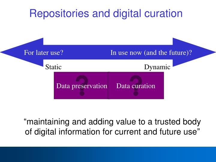 Repositories and digital curation