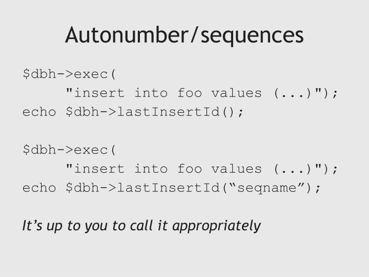 Autonumber/sequences