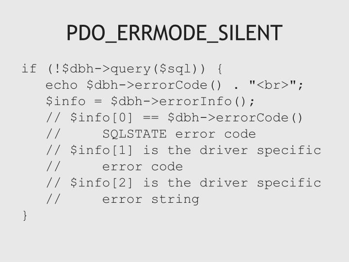 PDO_ERRMODE_SILENT
