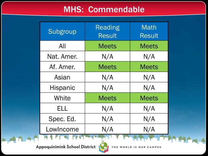 MHS:  Commendable