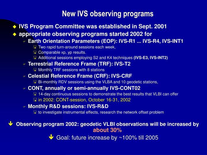 New IVS observing programs