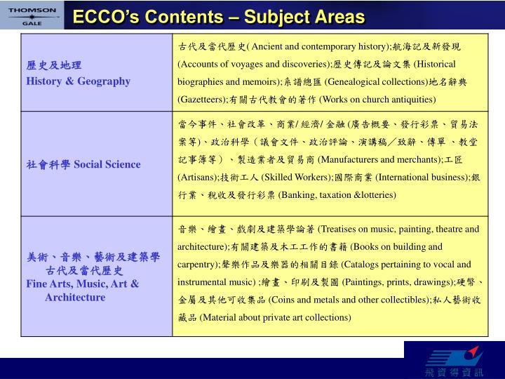 ECCO's Contents