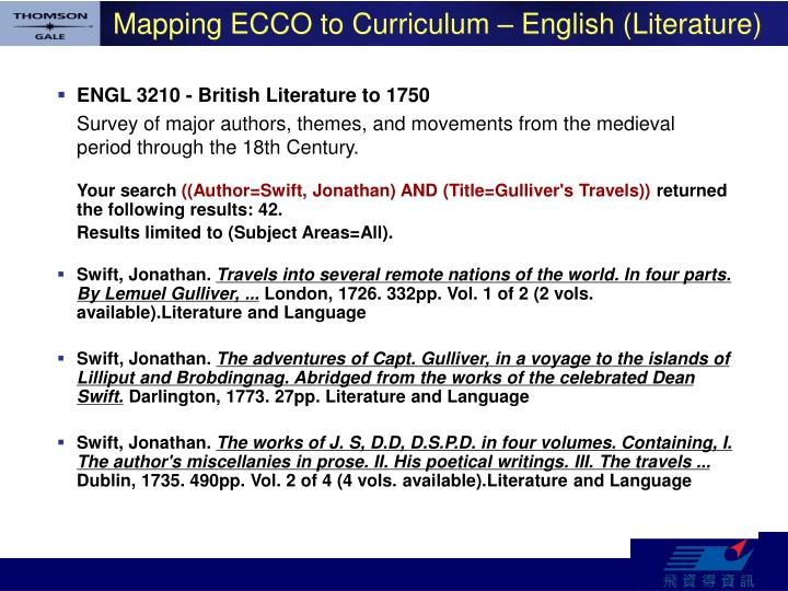Mapping ECCO to Curriculum – English (Literature)