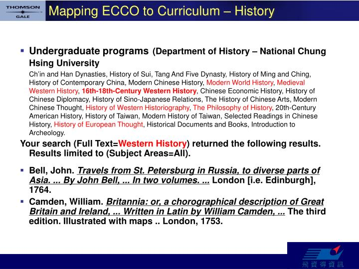 Mapping ECCO to Curriculum – History