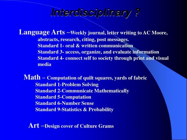Interdisciplinary ?
