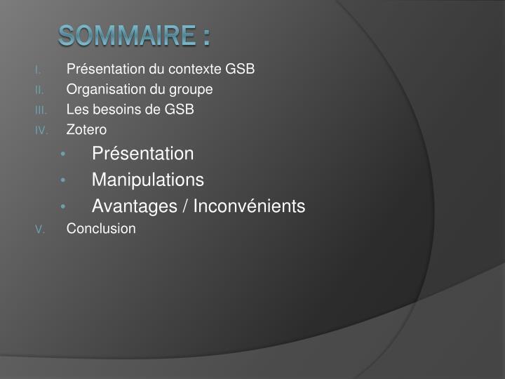 Présentation du contexte GSB