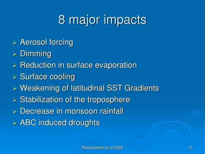 8 major impacts