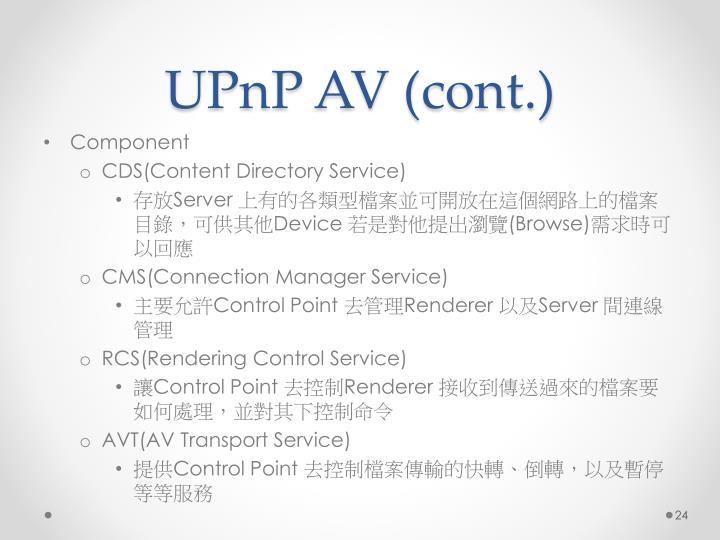 UPnP AV (cont.)