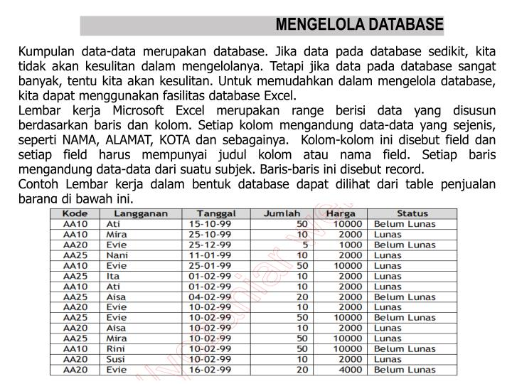 MENGELOLA DATABASE