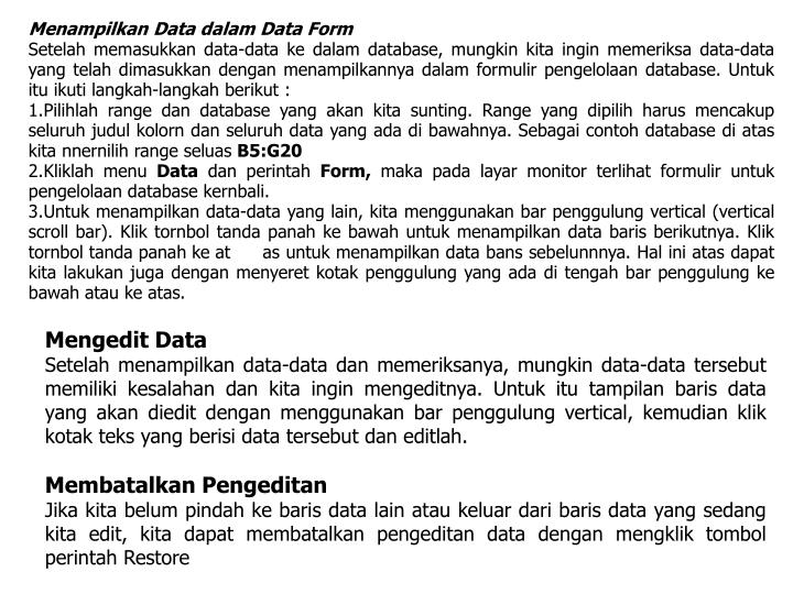 Menampilkan Data dalam Data Form