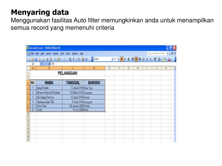 Menyaring data