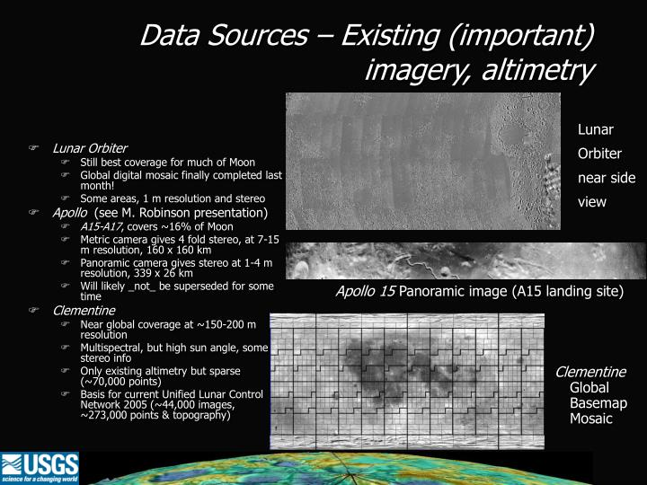Data Sources – Existing (important) imagery, altimetry
