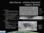 data sources existing important imagery altimetry