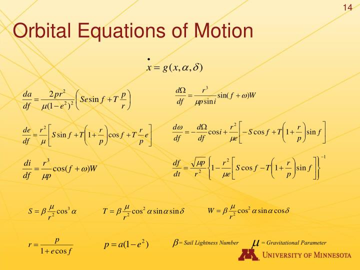 Orbital Equations of Motion